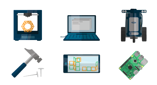 Häufige Maker-Werkzeuge: 3D-Drucker, Programmie- rungs-Tools, Robotics, analoge Werkzeuge und Hilfsmittel, Apps (inkl. Games) und Hardware (Arduino, Raspberry Pi, Makey Makey) ( Grafik nach Sandra Schön)